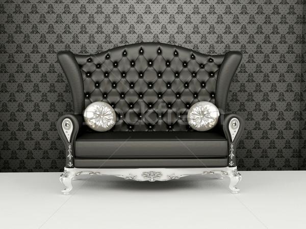 Sofa powrót tapety wnętrza wystawa ściany Zdjęcia stock © Victoria_Andreas