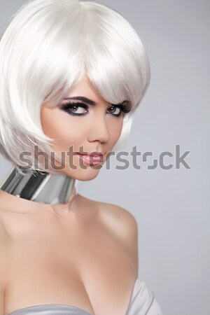 Fashion portrait with White Short Hair. Haircut. Hairstyle. Frin Stock photo © Victoria_Andreas