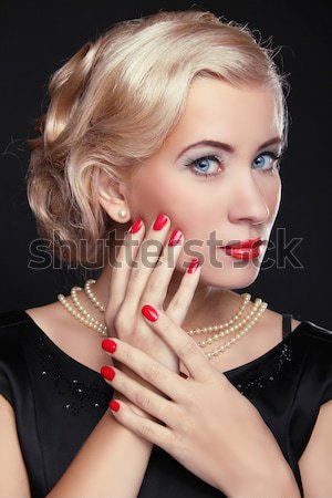 Beautiful woman with red lips, make-up. Jewelry and Beauty. Fash Stock photo © Victoria_Andreas