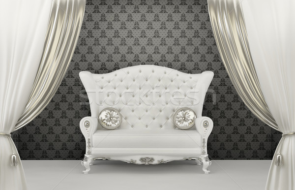 Luxurious Sofa with pillows before wall ornament. Armrest Stock photo © Victoria_Andreas