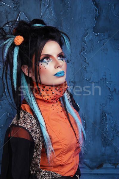 Rock nina azul labios punk peinado Foto stock © Victoria_Andreas