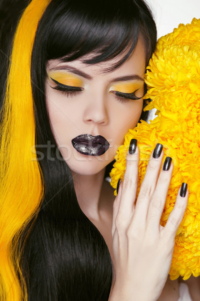 Punk Girl Portrait with Colorful Makeup, Long Hair, Nail polish. Stock photo © Victoria_Andreas