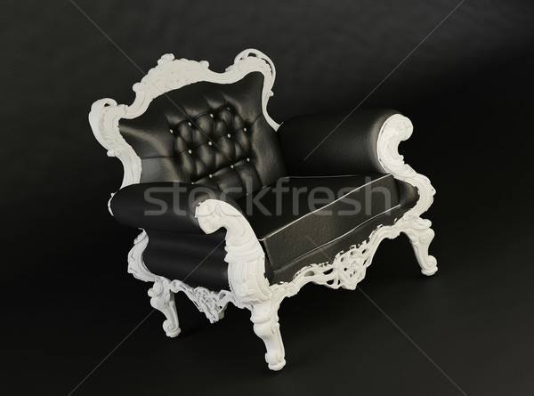 Royal black armchair on the black background Stock photo © Victoria_Andreas