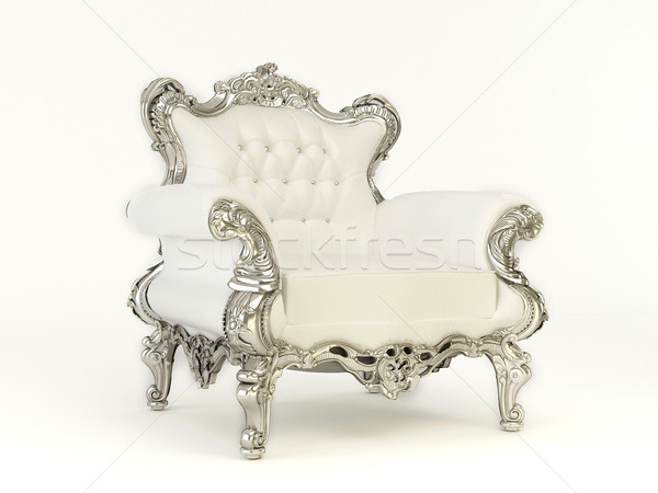 Luxurious  armchair with silver frame  on the white background Stock photo © Victoria_Andreas