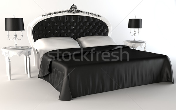 Modern Bedroom suite. Bed. Lamp. Table. Stock photo © Victoria_Andreas