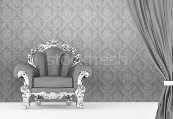 Opened curtain with  baroque armchair on wallpaper background. I Stock photo © Victoria_Andreas