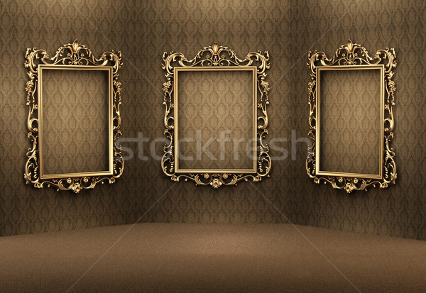 Empty golden frames on the wall in luxurious interior. Royal apa Stock photo © Victoria_Andreas