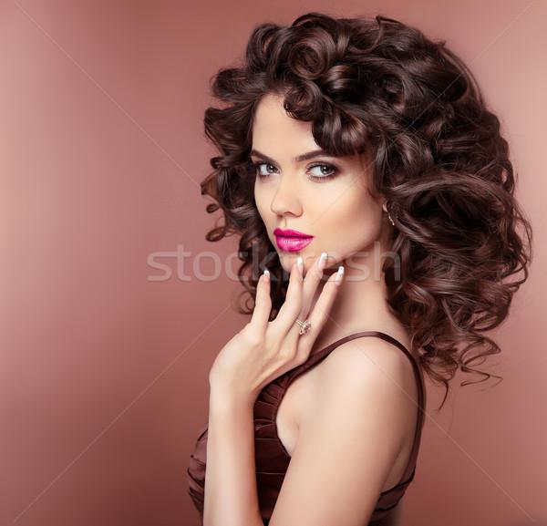 Makijaż włosy atrakcyjny brunetka dziewczyna zdrowych Zdjęcia stock © Victoria_Andreas