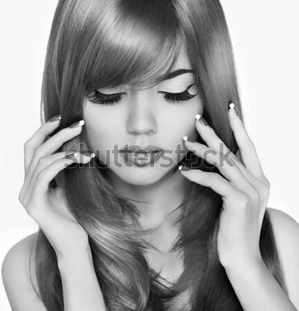 Divat szépség portré nő fehér rövid haj Stock fotó © Victoria_Andreas