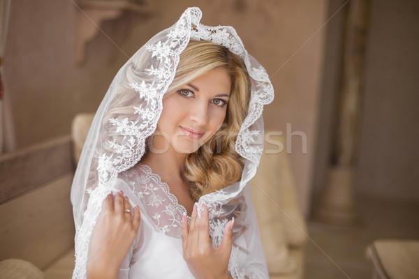 Güzel gülen gelin düğün peçe güzellik Stok fotoğraf © Victoria_Andreas
