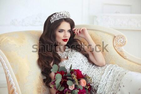 Belo sorridente mulher jovem branco renda lingerie Foto stock © Victoria_Andreas