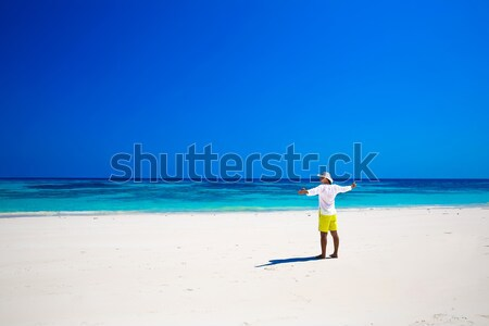 Nature. Seashore. Happy free Man enjoying life on tropical freed Stock photo © Victoria_Andreas