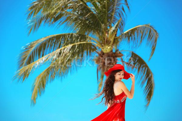 Free Happy Woman Enjoying Nature Beauty Girl With Red Hat Summ Stock Photo C Victoria Andreas 7047218 Stockfresh