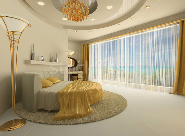 The round bed in a luxurious interior with a large window Stock photo © Victoria_Andreas