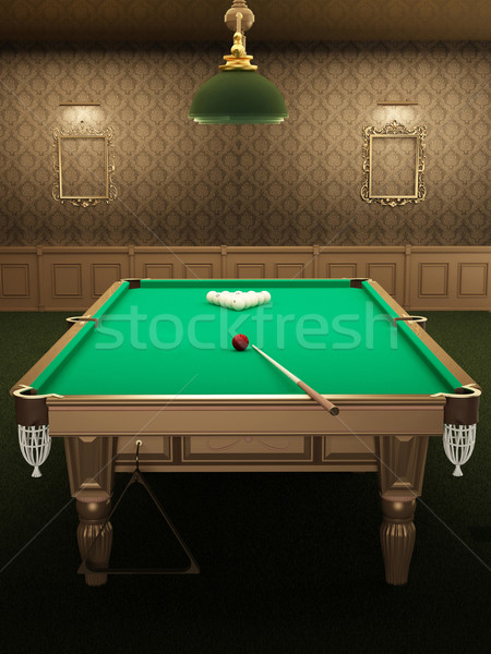 billiard or pool table in luxurious interior with pattern wallpa Stock photo © Victoria_Andreas