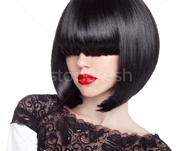 Fashion bob Haircut. Hairstyle. Long Fringe. Short Hair Style. B Stock photo © Victoria_Andreas