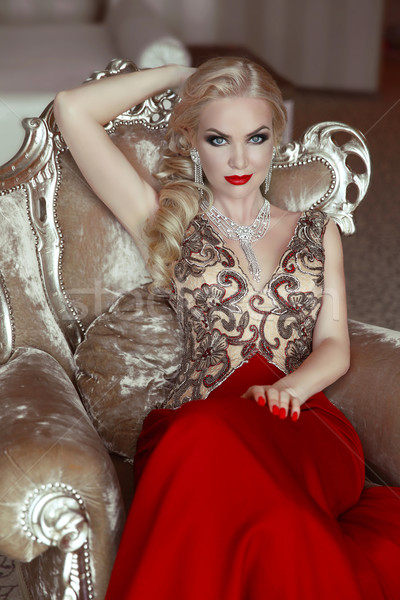 Fashion indoor portrait of beautiful sensual blond woman with ma Stock photo © Victoria_Andreas