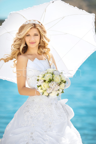 Beautiful woman, Elegant bride with wedding roses bouquet, outdo Stock photo © Victoria_Andreas