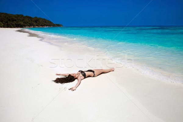 Free Happy Woman Enjoying tropical beach nature. Wellness. Trave Stock photo © Victoria_Andreas