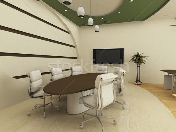 Stock photo: Table with chairs in  conference interior. Office.
