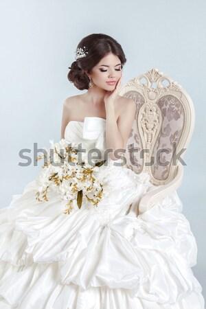 Stockfoto: Bruid · mooie · brunette · vrouw · moderne