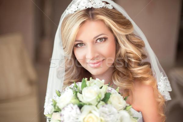 Stok fotoğraf: Düğün · portre · güzel · gelin · kız · uzun