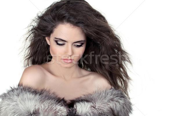 шуба изолированный белый женщину лице Сток-фото © Victoria_Andreas