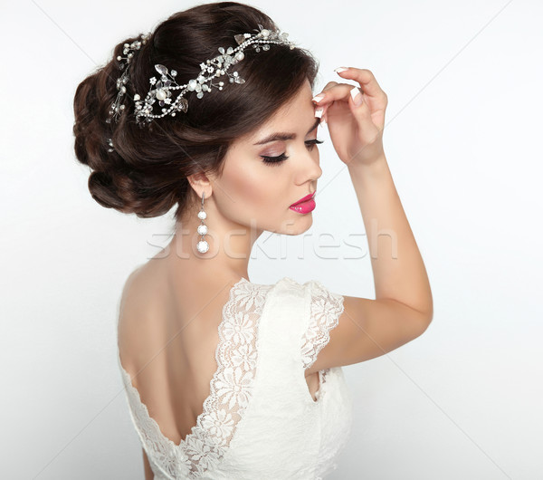 Wedding Hairstyle. Beautiful fashion bride girl model portrait.  Stock photo © Victoria_Andreas