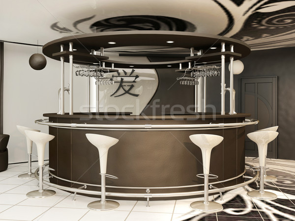 Round bar with standing chairs in modern interior .Yin Jansky Stock photo © Victoria_Andreas