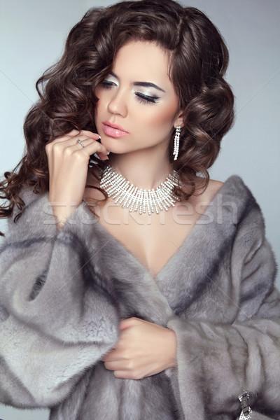 Güzellik moda model kadın kürk kış Stok fotoğraf © Victoria_Andreas