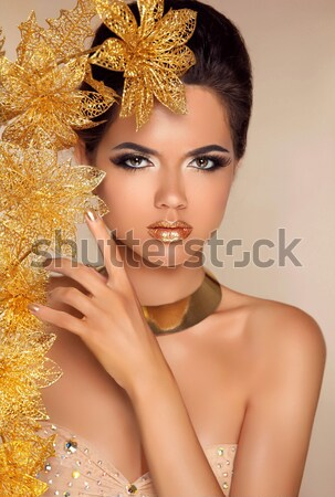 Makeup. Glamour Fashion Portrait of Beautiful Attractive Girl Wi Stock photo © Victoria_Andreas