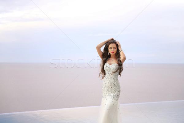 Stockfoto: Mooie · mode · bruid · meisje · trouwjurk · zomer