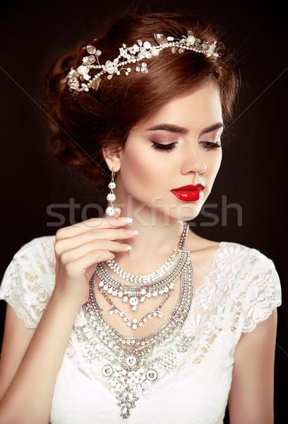 Beauty woman portrait. Wedding Hairstyle. Beautiful fashion brid Stock photo © Victoria_Andreas
