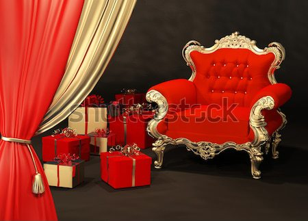 Royal red armchair with golden frame Stock photo © Victoria_Andreas