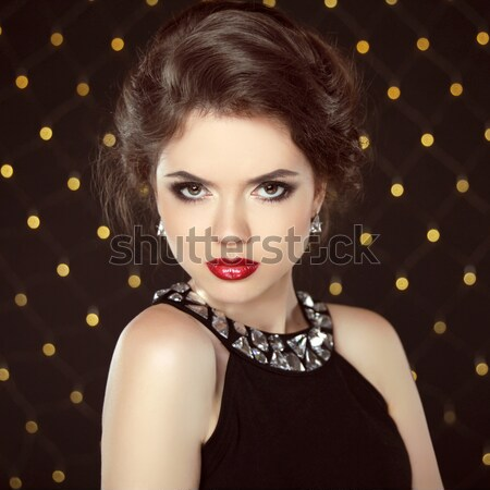 Beautiful brunette young woman. Fashion glam girl model over bok Stock photo © Victoria_Andreas