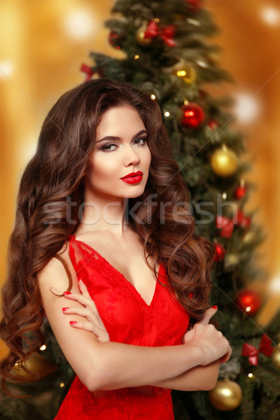 Beautiful smiling girl model. Makeup. Healthy long hair style. E Stock photo © Victoria_Andreas
