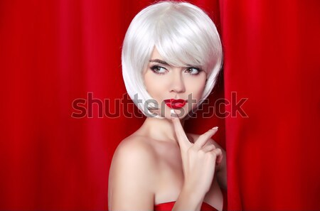 Blond bob hairstyle. Fashion Beauty Girl. Makeup. White Short ha Stock photo © Victoria_Andreas