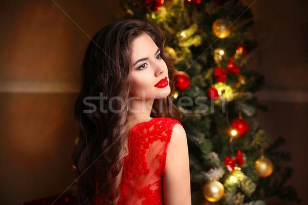 Foto stock: Natal · belo · sorrindo · modelo · make-up