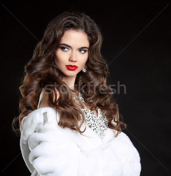 Beauty Fashion Model Girl in white Mink Fur Coat. Red lips makeu Stock photo © Victoria_Andreas
