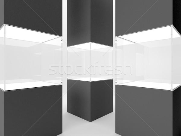 Three showcase in black column Stock photo © Victoria_Andreas