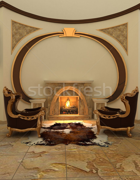 Armchairs near fireplace in modern interior. Warm Stock photo © Victoria_Andreas