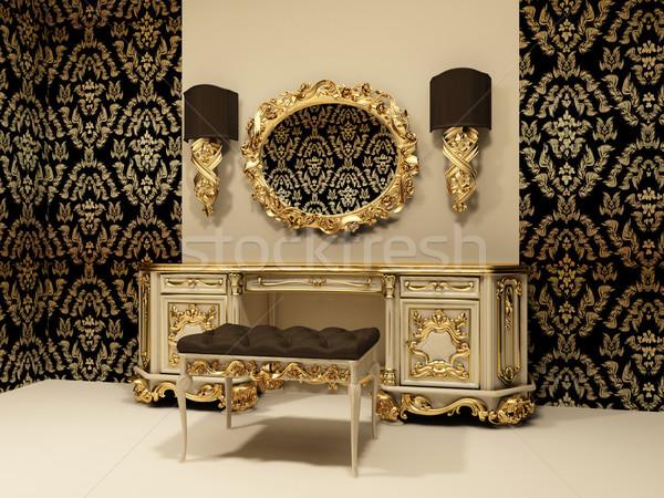 Stock fotó: Barokk · asztal · tükör · tapéta · dísz · doboz