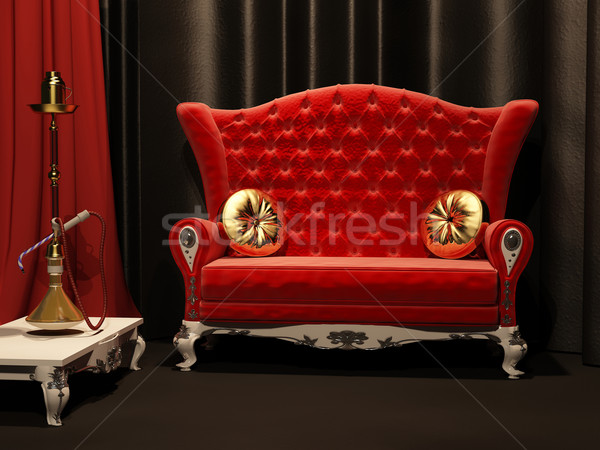 Red sofa and  hookah in interior. Drapery Stock photo © Victoria_Andreas