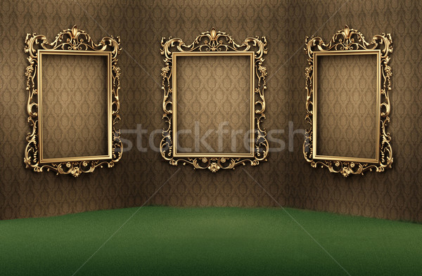 Empty golden frames on the wall in luxurious interior. Luxe apar Stock photo © Victoria_Andreas