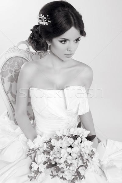 Menyasszony gyönyörű lány visel modern esküvői ruha divat Stock fotó © Victoria_Andreas