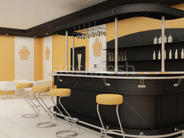 Stockfoto: Perspectief · bar · stoelen · restaurant · interieur · bouw