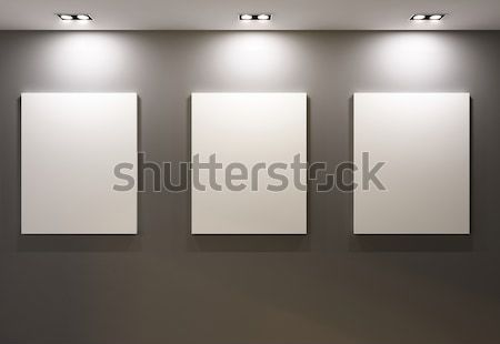 Gallery Interior with empty frames on blue wall Stock photo © Victoria_Andreas
