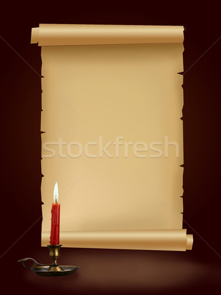 Old antique paper manuscript with candle on brown background Stock photo © Victoria_Andreas