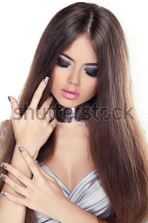 Glamour portret piękna kobieta piękna długo brązowe włosy Zdjęcia stock © Victoria_Andreas