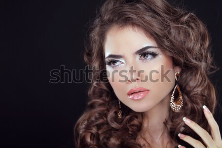 Wavy Hair. Beautiful Sexy Brunette Woman. Healthy Long Brown Hai Stock photo © Victoria_Andreas